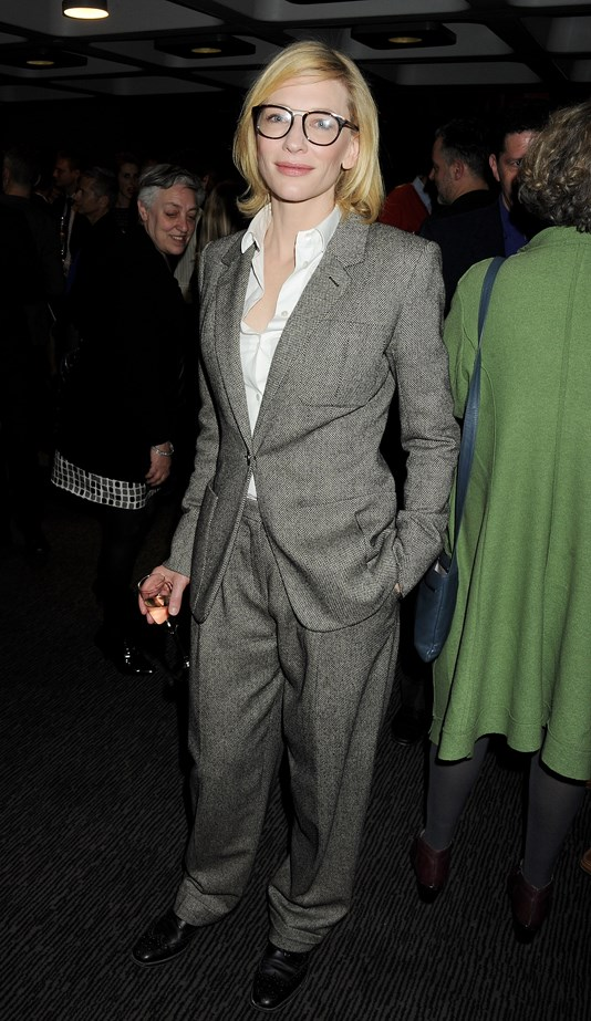 Cate Blanchett in soft grey tailoring.