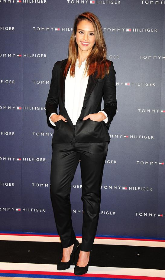 Jessica Alba went with a low-buttoned suit jacket on top of her classic white button-up.