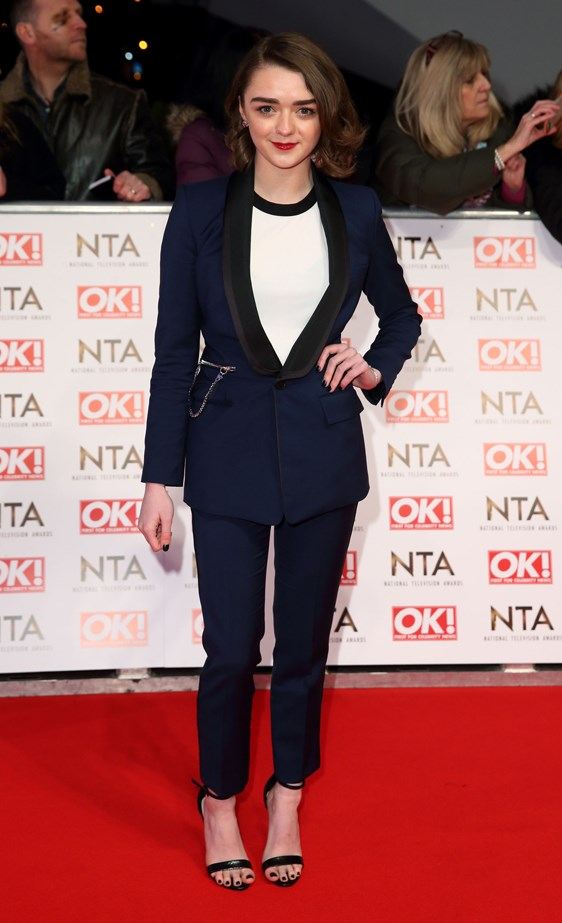 Game Of Thrones' Maisie Williams in a navy ensemble.