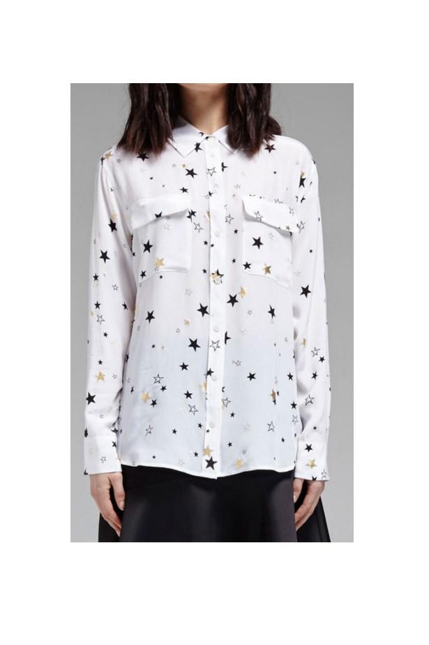 "<a href=""http://www.orderofstyle.com/shop/tops/shirts/equipment-slim-signature-black-gold-star-print-shirt/"">Slim signature black & gold star print shirt, $457, Equipment at orderofstyle.com</a>"