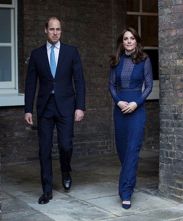 For her first stop on the tour, Kate wore this blue illusion dress from Indian-born designer Saloni.