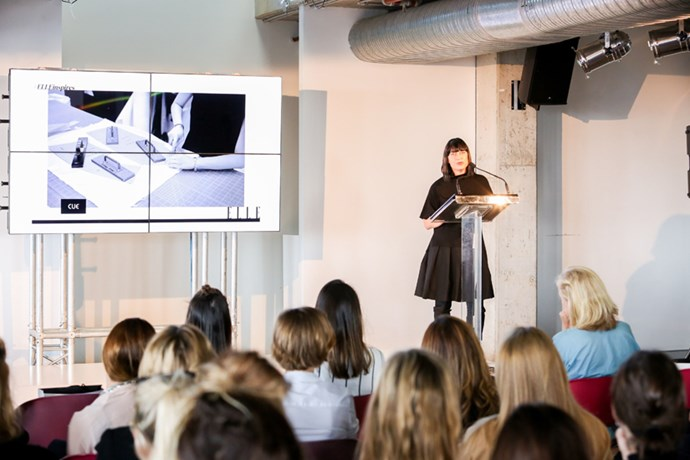 Kate Bielenberg, brand manager at Cue, begins her talk.