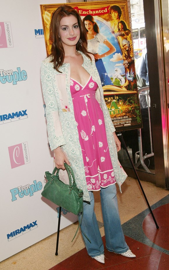 Anne Hathaway circa 2004 took the 'dress over pants' memo to a whole other level.