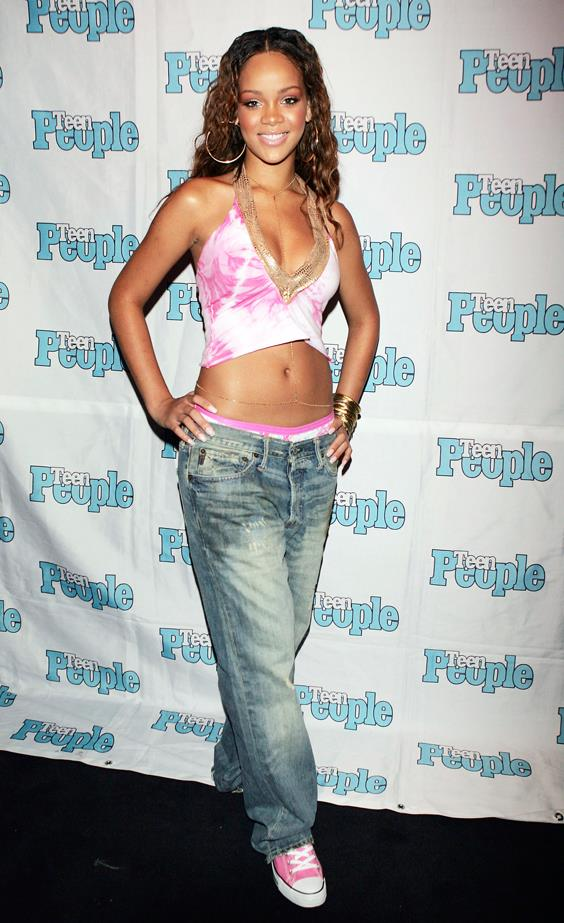 Nothing to top off your super low-slung pants than a body chain and pink underwear, right, Rihanna?