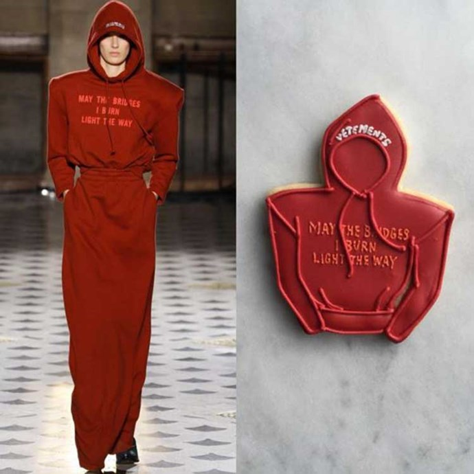 """Pumping out hundreds – and sometimes thousands – of cookies on a weekly basis, Gazel told <em><a href=""""http://www.vogue.com/13424639/lindsey-gazel-fashion-cookies/"""">Vogue</a></em> she draws inspiration from the zeitgeist, looking to movies, music, fashion, politics and social media for inspiration."""