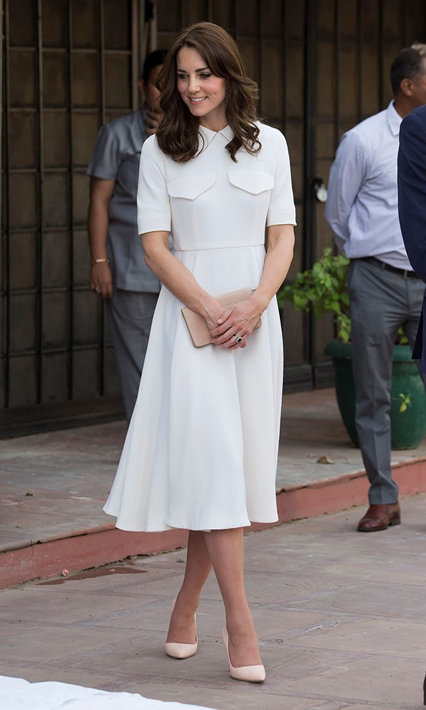 But what better dress to have that moment in than a clean Emilia Wickstead dress with cap sleeves and a close collar?