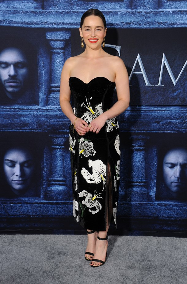 Emilia Clarke at the Game of Thrones season 6 premiere.