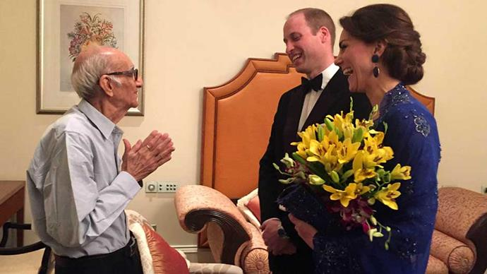 93-year-old Mumbai restaurant owner Boman Kohinoor meets royals Prince William and Kate Middleton following an extensive social media hashtag campaign