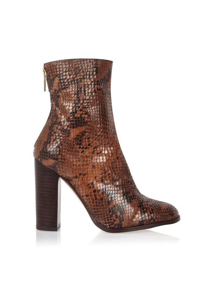 "<a href=""http://au.riverisland.com/women/sale/shoes--boots/brown-leather-snake-heeled-ankle-boots-680912"">Boots, $90, River Island</a>"