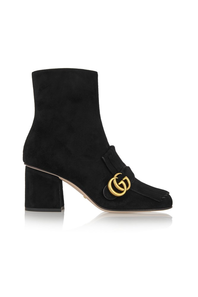 "<a href=""https://www.net-a-porter.com/au/en/product/643340/Gucci/fringed-suede-ankle-boots"">Boots, $1135, Gucci at net-a-porter.com</a>"