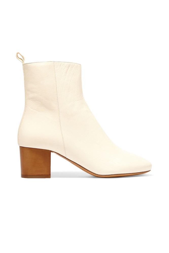 "<a href=""https://www.net-a-porter.com/au/en/product/648497/isabel_marant/etoile-drew-leather-ankle-boots"">Boots, $820, Isabel Marant Étoile at net-a-porter.com</a>"