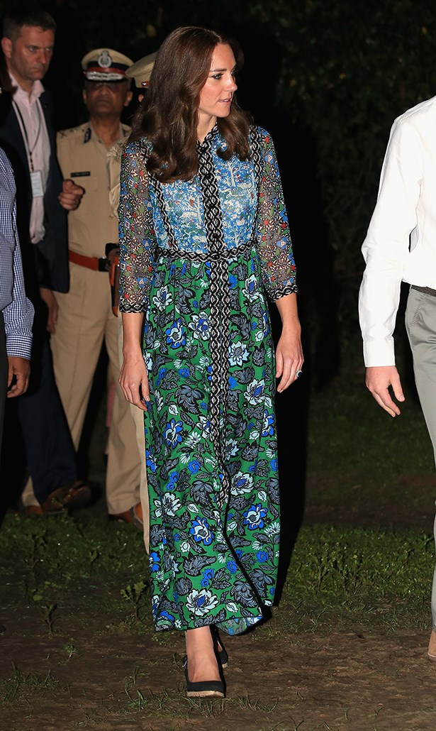 "Again on the printed dress front, Kate wore this <a href=""https://www.net-a-porter.com/au/en/product/608862?cm_mmc=LinkshareUK-_-QFGLnEolOWg-_-Custom-_-LinkBuilder&siteID=QFGLnEolOWg-hyuFkhA_uFo6rCP3BaWphA"">Anna Sui</a> dress—which, you guessed it, is almost sold out, too (that $1,444 price tag might have had something to do with it)."