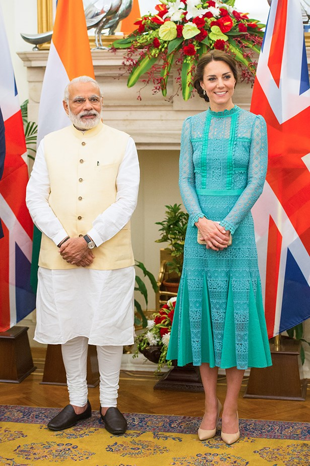 "For a diplomatic reception, Kate wore this mint green <a href=""http://www.temperleylondon.com/shop/desdemona-lace-dress-jade.html"">Temperley London</a> lace dress... also sold out."
