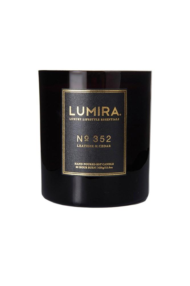 "<a href=""http://www.atelierlumira.com/destination-candles/no-352-leather-cedar"">No. 352 Leather & Cedar Candle, $59, Lumira</a><br><br> <em>Notes: Ground Spices, French Leather, Dark Amber Accord, Smooth Cedarwood, Vanilla Pod, Labdanum Tree, Musk.</em>"