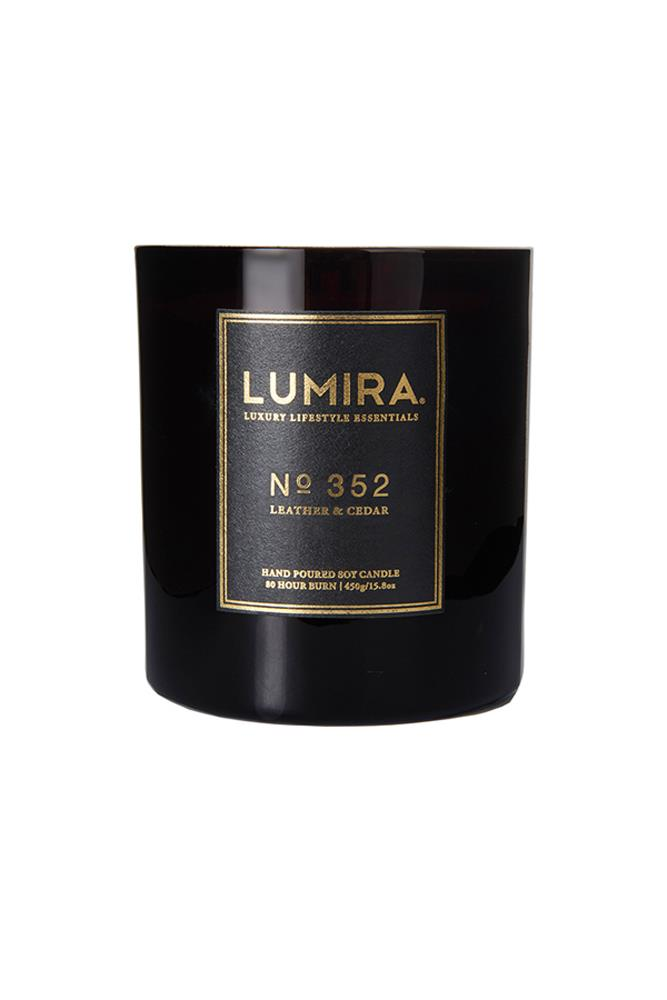 "<a href=""http://www.atelierlumira.com/destination-candles/no-352-leather-cedar"">No. 352 Leather & Cedar Candle, $59, Lumira</a><br><br> <em>Notes: Ground Spices, French Leather, Dark Amber Accord, Smooth Cedarwood, Vanilla Pod, Labdanum Tree, Musk.</em>"