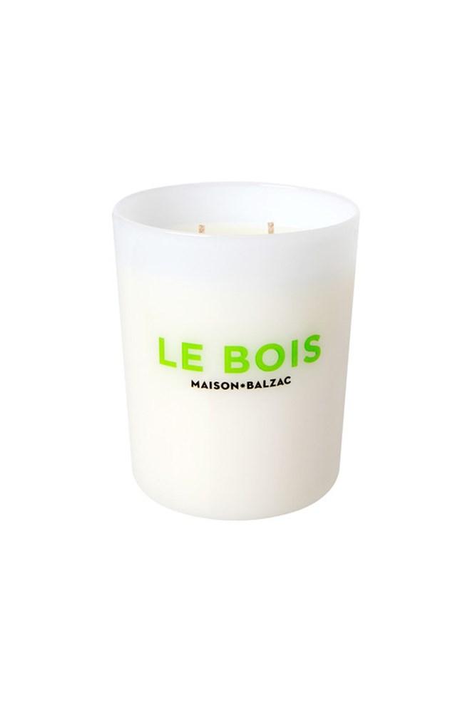 "<a href=""https://www.maisonbalzac.com/products/le-bois"">Le Bois Large Candle, $69, Maison Balzac</a><br><br> <em>Notes: Sandalwood, Cedarwood, Pine Needle, Labdanum Tree Resin, Amber.</em>"