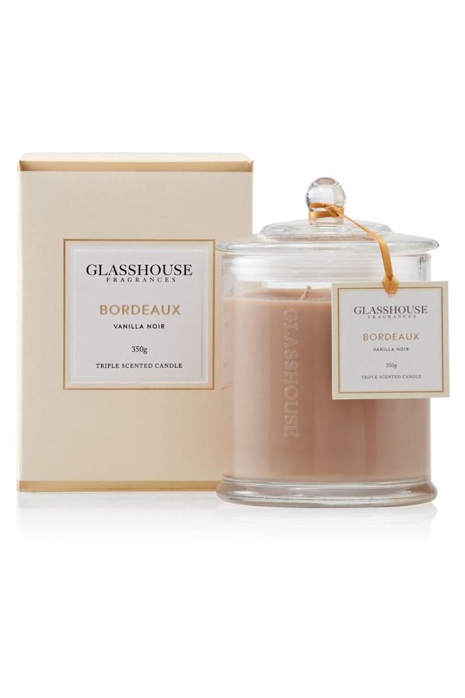"<a href=""http://www.glasshousefragrances.com/bordeaux-candle.html"">Triple Scented Bordeaux Candle, $42.95, Glasshouse Fragrances</a><br><br> <em>Notes: Vanilla, Dark Chocolate and Hazelnut.</em>"