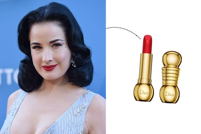 "<p> Dita Von Teese<p> <p> <a href=""http://www.dior.com/beauty/en_int/fragrance-beauty/makeup/lips/lipsticks/pr-lipsticks-y0027600-hautecouturelongwearinglipstick.html"">Christian Dior Diorific in 'Dolce Vita'</a>."