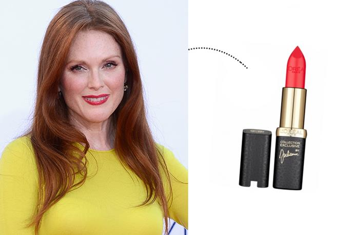 "<p> Julianne Moore<p> <p> <a href=""http://www.loreal-paris.co.uk/make-up/lip/lip-colour/color-riche-collection-exclusive-reds/juliannes-red"">L'Oreal Colour Riche in 'Julianne'</a>."