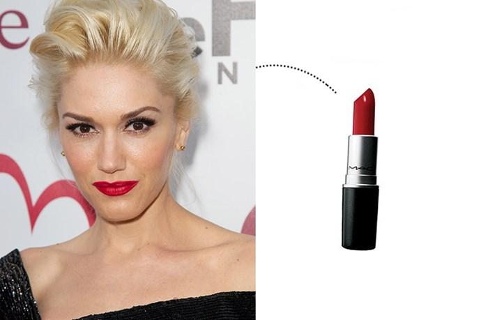 "<p> Gwen Stefani<p> <p> <a href=""http://www.maccosmetics.com.au/product/shaded/168/310/Products/Lips/Lipstick/Lipstick/index.tmpl"">M.A.C. Lipstick in 'Russian Red'</a>."