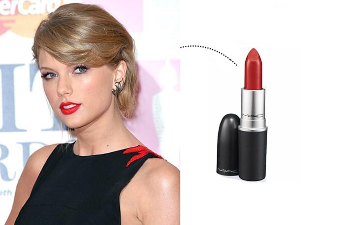 "<p> Taylor Swift<p> <p> <a href=""http://www.maccosmetics.com.au/product/shaded/168/310/Products/Lips/Lipstick/Lipstick/index.tmpl"">M.A.C. Lipstick in 'Ruby Woo'</a>."