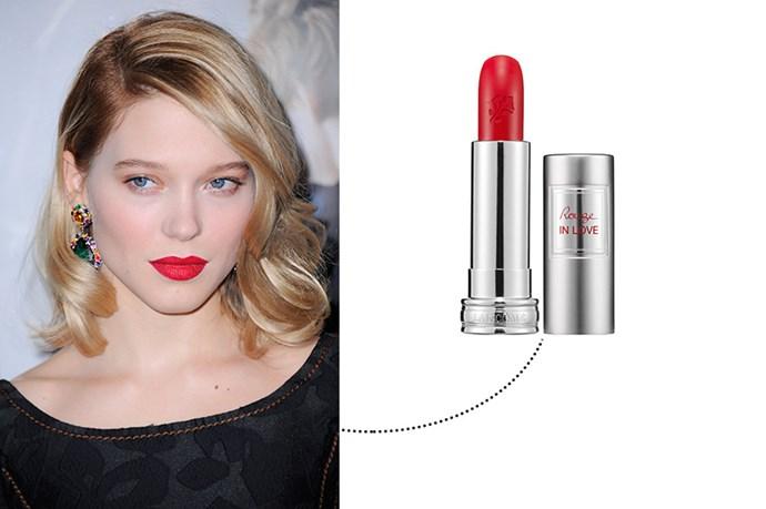 "<p> Lea Seydoux<p> <p> <a href=""http://www.lancome.com.au/makeup/lips/lipsticks/rouge-in-love"">Lancôme 'Rouge In Love'</a>."