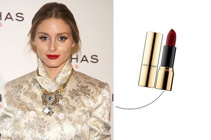 "<p> Olivia Palermo<p> <p> <a href=""http://www.sephora.com/olivia-palermo-x-ciat-eacute-london-satin-kiss-lipstick-P399701"">Ciate London Satin Kiss in 'Velveteen'</a>."