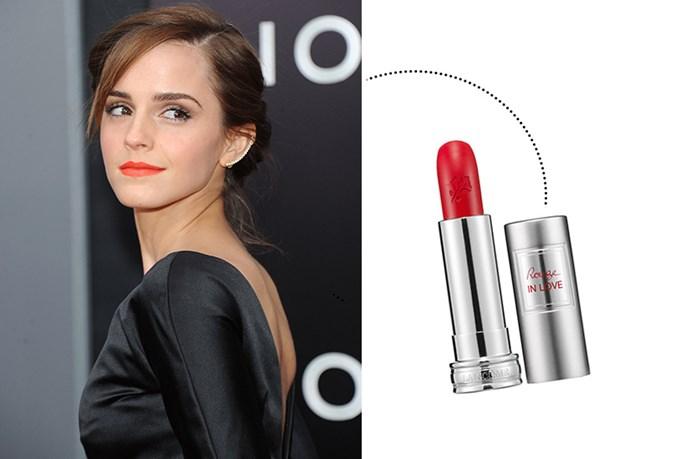 "<p> Emma Watson<p> <p> <a href=""http://www.lancome.com.au/makeup/lips/lipsticks/rouge-in-love"">Lancôme 'Rouge In Love'</a>."