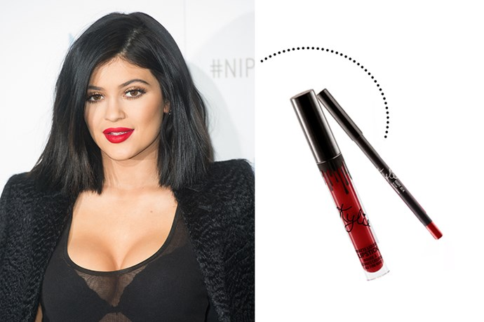 """<p> Kylie Jenner<p> <p> <a href=""""http://kyliecosmetics.com/collections/frontpage/products/maryjo-k"""">Kylie Cosmetics Lip Kit in 'Mary Jo K'</a>."""