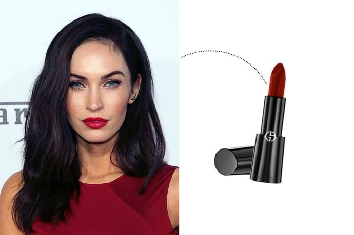 "<p> Megan Fox<p> <p> <a href=""http://www.giorgioarmanibeauty-usa.com/rouge-d%27armani-lipstick/A353,default,pd.html?dwvar_A353_color=300&cgid=lipstick"">Giorgio Armani Rouge D'Armani Lipstick in '406'</a>."
