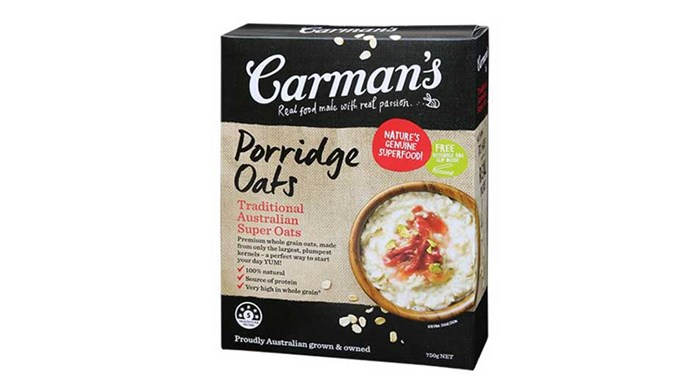 """<p> <strong>Oats</strong><p> <p> Aside from being a bona fide power food, oats can make an effective scrub for sensitive skin. Blend them up and add them to your regular cleanser. Using your fingertips, gentle massage the mixture into your face, and viola! (<a href=""""http://www.carmanskitchen.com.au/our-products/porridge-oats/traditional-australian-super-oats-2"""">Carman's Traditional Australian Super Oats</a>, $4.65)"""