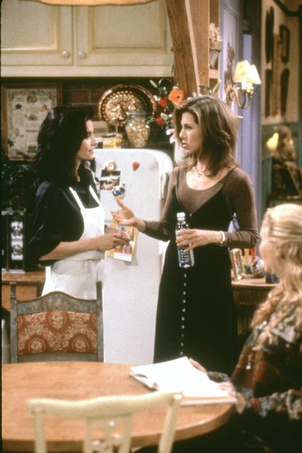 That slip dress over tshirt trend you've been wearing? Yeah, Rachel brought that in.