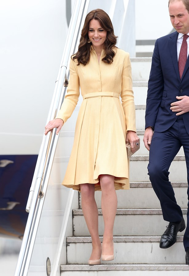 Kate arrived in Bhutan to meet the King and Queen (and, btw, their nicknames are the 'Dragon King and Dragon Queen' because everyone else needs to take a goddamn seat) wearing lemony yellow.