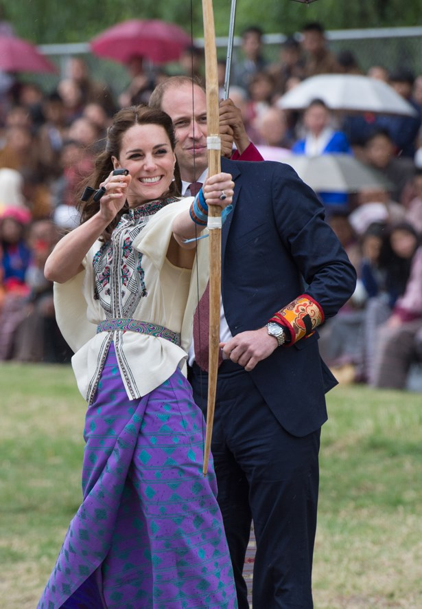 Petition to refilm all of the Hunger Games films with Kate Middleton in this particular white-cape-and-purple-skirt situation? Thanks.