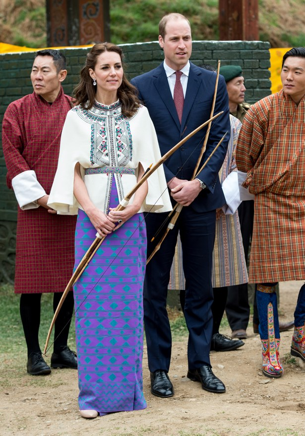 To partake in some casual woodland archery, Kate wore this traditional Bhutan-inspired ensemble, handmade by her secret team of seamstresses in England.