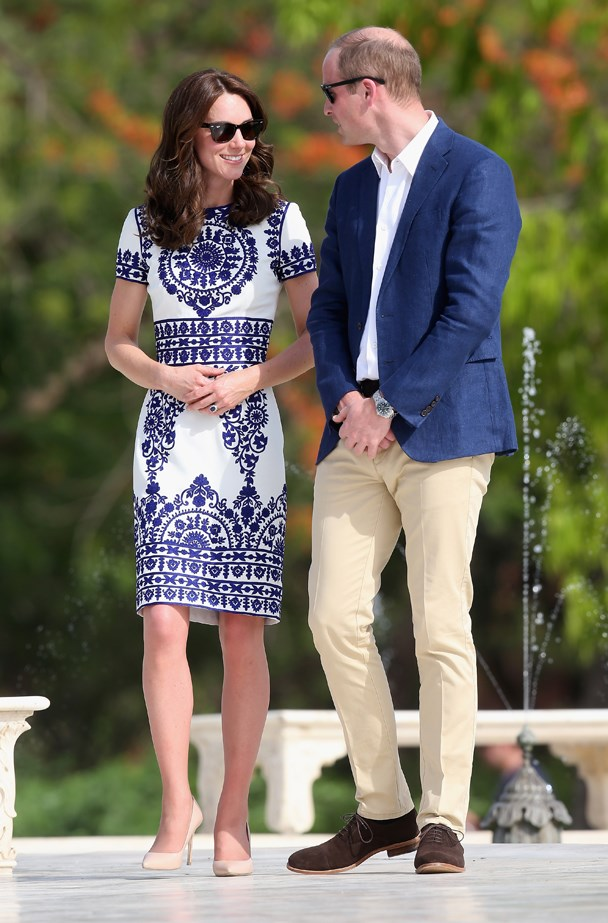 For their final engagement, where they toured the Taj Mahal and sat on the same bench as Princess Diana did in 1992, Kate wore a dress by Indian designer Naeem Khan.