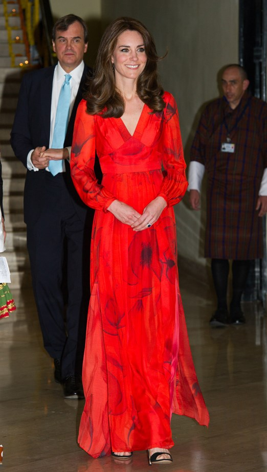 For Bhutanese gala-attending, Kate went red in Beulah London.
