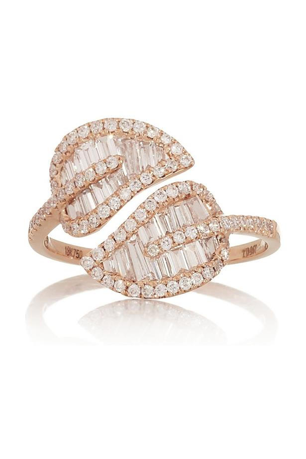 """<a href=""""http://anitako.com/collections/rings/products/extra-large-leaf-ring"""">Anita Ko Leaf Ring in Rose Gold</a>, $9,400 AUD."""