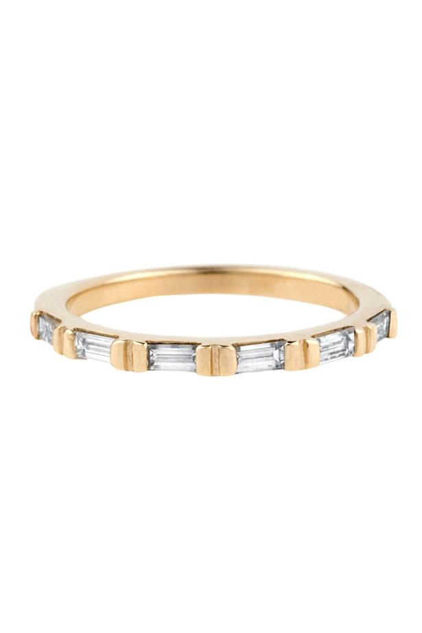 """<a href=""""http://bario-neal.com/jewelry/bands/demi-baguette-diamond-band"""">Bario Neal Demi-Baguette Diamond Band</a>, $2,100 AUD."""
