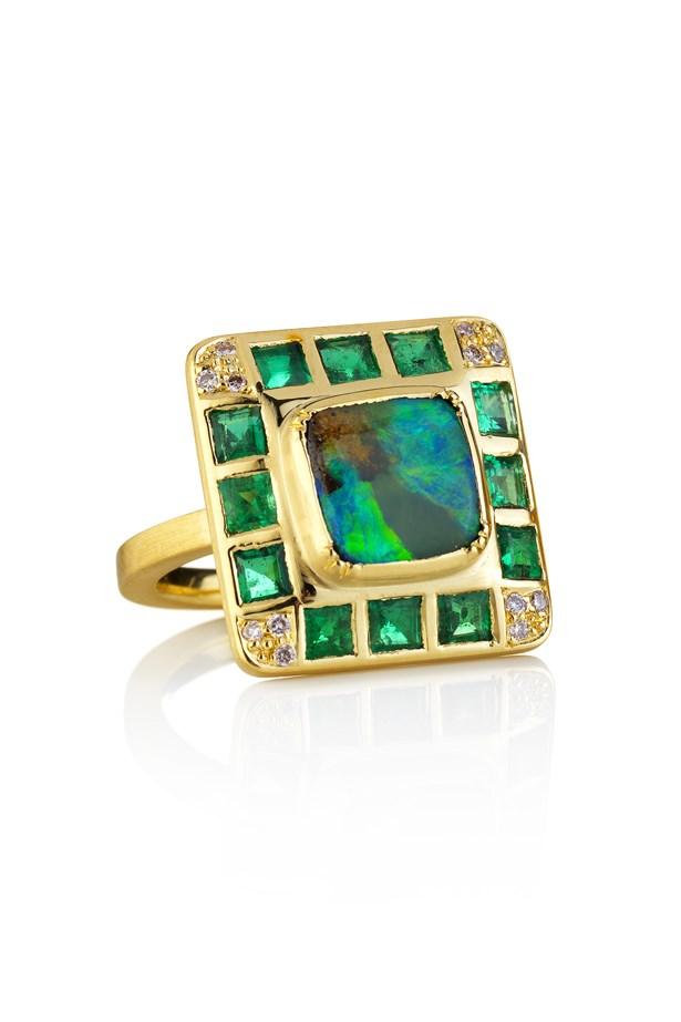 "<a href=""http://www.brookegregson.com/uk/shop.php?type=27&item=1390"">Brooke Gregson Hoffman Boulder Opal Emerald Ring</a>, $11,950."