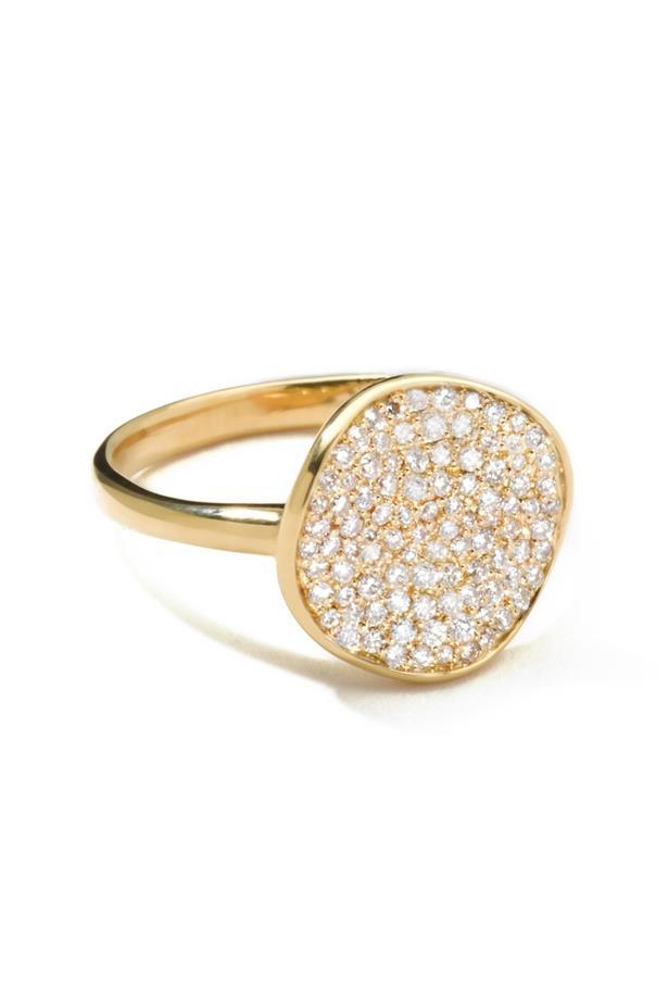 """<a href=""""http://www.ippolita.com/18k-gold-stardust-diamond-ring-1"""">Ippolita Glamazon Stardust Ring</a>, $4,810."""