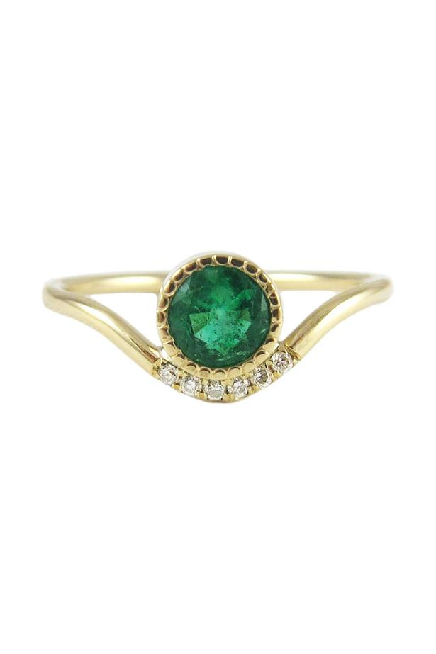 """Emerald Wave Ring, AUD $1520 at [Jennie Kwon Designs](https://fave.co/3yPcBeQ