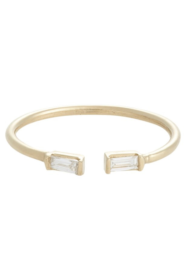 "<a href=""http://www.barneys.com/loren-stewart-baguette-diamond-split-ring-503779899.html?cgid=womens-rings&utm_medium=affiliate&index=10&siteID=QFGLnEolOWg-LqhDST9xuWxnynIn0q7Pqg&utm_source=QFGLnEolOWg"">Loren Stewart Baguette Diamond Split Ring</a>, <em>price on request. </em>"
