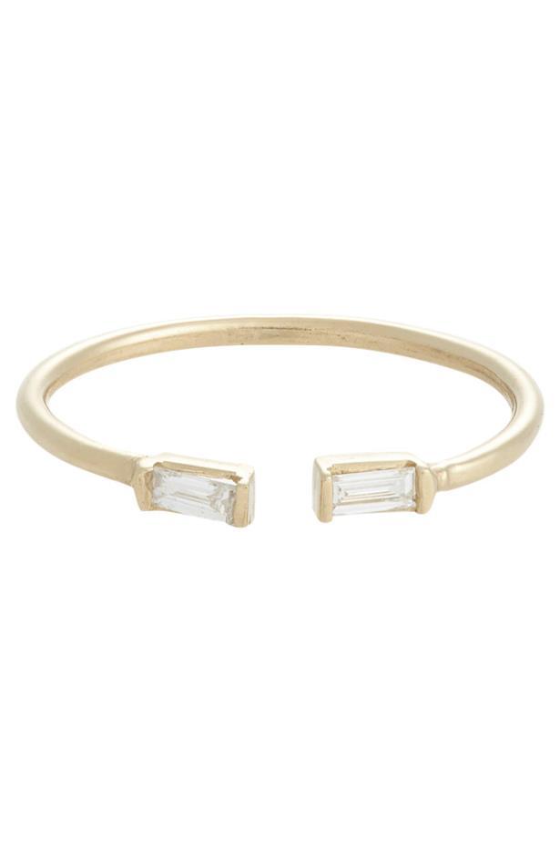 "<a href=""http://www.barneys.com/loren-stewart-baguette-diamond-split-ring-503779899.html?cgid=womens-rings&utm_medium=affiliate&index=10&siteID=QFGLnEolOWg-LqhDST9xuWxnynIn0q7Pqg&utm_source=QFGLnEolOWg"">Loren Stewart Baguette Diamond Split Ring</a>, <em>price on request. </em>"