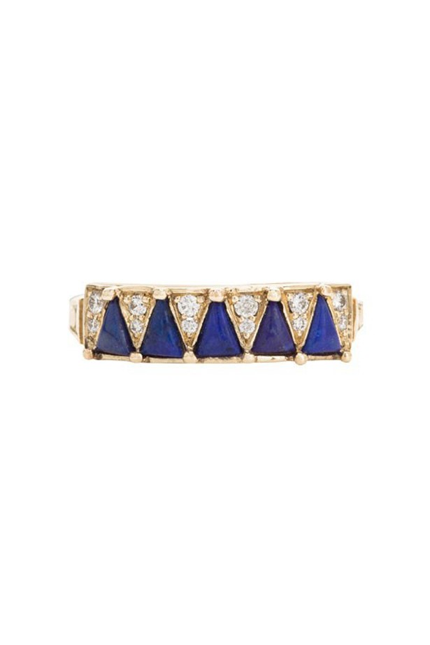 "<a href=""http://mociun.com/five-blue-lapis-triangle-ring/"">Mociun Five Blue Lapis Triangle Ring</a>, $3,020 AUD."