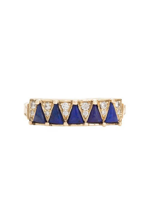 "<a href=""http://mociun.com/five-blue-lapis-triangle-ring/"">Mociun Five Blue Lapis Triangle Ring</a>, $3,020 AUD."