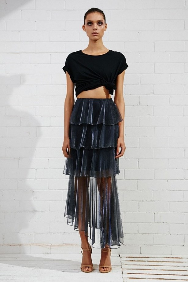 "<a href=""https://www.archfashion.com.au/shona-joy/meriel-tiered-midi-skirt"">Meriel Tiered Midi Skirt, $224, Shona Joy at archfashion.com.au</a>"