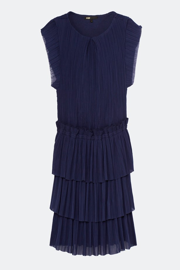 "<a href=""https://us.maje.com/en/clothing/dresses/radzy/H15RADZY.html"">Radzy pleated Ruffle Dress, $235, Maje at us.maje.com</a>"