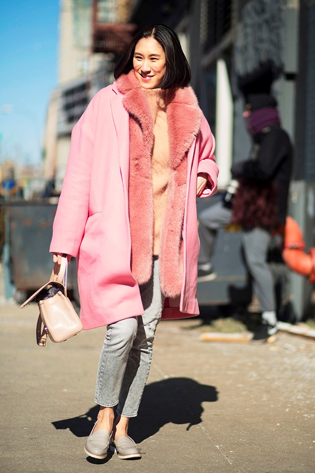 """A true new Yorker isn't afraid to show off her ankles, despite the sub-zero temperatures — or layer pretty pinks with grey."""