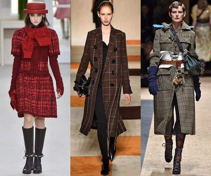 <strong>Check mate</strong><br><br> A checked coat will see you through the season with aplomb.<br><br> <em>L-R: Chanel, Victoria Beckham, Prada </em>